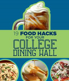 19 Food Hacks For College Cafeterias. As I'm reading this I realize that about of these tricks are regularly served in my cafeteria College Life Hacks, College Meals, College Dorm Rooms, College Tips, College Recipes, College Cooking, College Essentials, College Checklist, Room Essentials
