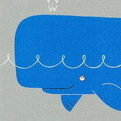 """""""W is for Whale, the nicest we've met, but not the most practical choice for a pet.""""  Childrens Art Print with poem   Whale Alphabet Print in blue and purple  by gumo, $19.00"""