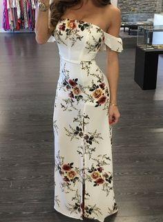 Strapless Floral Printed Split Maxi Dress