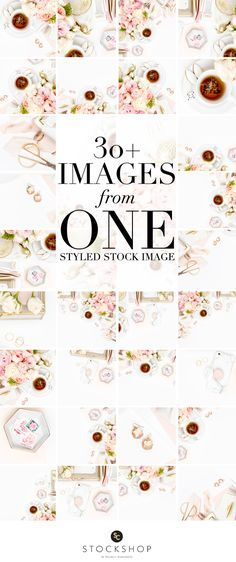 Learn how to use styled stock photography! Create 30 Instagram images from a single styled stock image! Blush pink and gold desktop image collection.