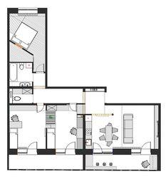 Hp house plan l shape on pinterest l shaped house for L shaped apartment floor plans