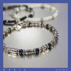 Bracciale uomo in acciaio con perline blu della collezione #ManClass  Steel bracelet man with blue beads. #ManClass Collection