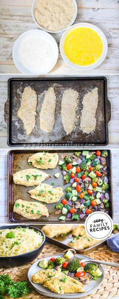 FAVORITE DINNER! If Chicken Cutlets are one of your favorite comfort foods, you are going to love this lighted up version of the classic family dinner! These Baked Chicken Cutlets are quick and easy to make and much more light and healthy! This sheet pan dinner marries breaded chicken breast with roasted veggies for a one pan dinner that is family friendly and oh so delicious! Easy Family Meals, Family Recipes, Quick Easy Meals, Baked Chicken Cutlets, Breaded Chicken, One Pan Dinner, Dessert For Dinner, Best Chicken Recipes, Easy Recipes