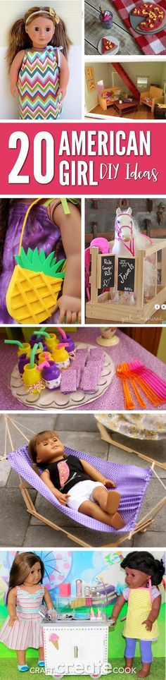 Your American Girl Doll will love these fun and easy DIY ideas! Here's 20 American Girl DIY Ideas that you'll be sure to love. Do your kids have an American Girl Doll? My daughters do and we are hooked. My oldest daughter received her first American Girl American Girl Outfits, Ropa American Girl, American Girl House, American Girl Parties, American Girl Crafts, American Clothing, Sewing Dolls, Ag Dolls, Girl Dolls