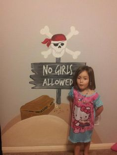 No Girls Allowed Pirate Painting For My Son's Room.  Take An Image, Print It Out On Your Printer In Black & White.  Use A Projector And Trace The Image.  Fill It In By Painting It.  My MIL Did Awesome On This With My Husband's Help.  Here's Where I Got The Idea: http://wallstory.wordpress.com/tag/diy-pirate-mural/