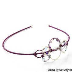 Silver Purple Handcrafted Swarovski Crystal Beaded Wire Wrapped Hair Band