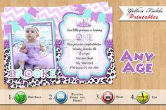Princess Birthday Invitation Purple Cheetah by YellowFieldsDesigns