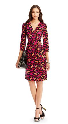 New Julian Two Silk Jersey Wrap Dress In Midnight Kiss Multi Red Fall Dresses, Dresses For Work, Summer Dresses, Wrap Dresses, Casual Dresses, Short Dresses, Wrap Around Dress, Office Outfits, Ladies Dress Design