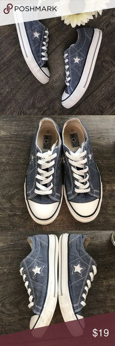 Converse One Star blue chambray Chucks GUC - they do show signs of wear, but no holes, rips or major stains, just light scuffs throughout, blue denim/chambray with white accents, new shoelaces Converse Shoes Sneakers