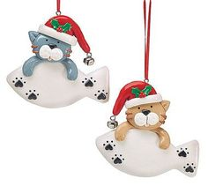 "Clay dough cat ornaments with attached bell. Great for personalizing. 3 1/2"""" H X 3 3/4""""W6 1/2""""Tall with hanger"