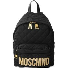 Moschino Rucksack (€350) ❤ liked on Polyvore featuring bags, backpacks, gold, moschino, moschino backpack, rucksack bags, moschino bags and zipper bag