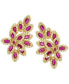 EFFY Ruby (2-1/2 ct. t.w.) and Diamond (1 ct. t.w.) Earrings in 14k Gold - Earrings - Jewelry & Watches - Macy's