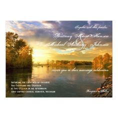Shop Fall Autumn Trees River Sunset Wedding Invitations created by CountryWeddings. Country Wedding Invitations, Wedding Invitation Design, Invitation Ideas, Invites, Sunset Wedding, Autumn Wedding, Christmas Tree Paper Craft, Tree Silhouette Tattoo, Oak Tree Wedding