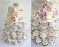Multistory wedding tower with pink and yellow cake