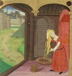 Femme se shampouinant, enluminure, école Française, fin XVe siècle. BNF French / medieval / shampoo / blonde