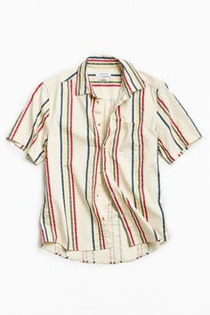 UO '90s Vertical Stripe Short Sleeve Button-Down Shirt | Urban Outfitters
