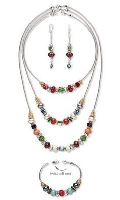 "Jewelry Design - Three-Piece Necklace, Bracelet and Earring Set with Swarovski Crystal and Gold-Plated Brass Jumprings - This lively, colorful three-piece circus of Swarovski crystal grommet beads is called ""The Greatest Bead Show on Earth."" - Fire Mountain Gems and Beads"