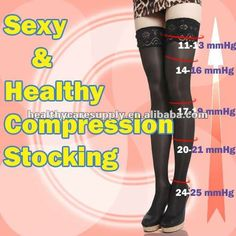 Sexy Compression Lace Thigh High Stockings Compression Hose, Compression Stockings, Thigh Highs, Nursing, Exercise, Workout, Lace, Sexy, Clothes