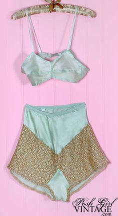 1930s Green Silk Tap Pants & Bra Set