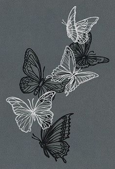 Overlapping butterflies in light and dark threads create dynamic contrast and beautiful energy.