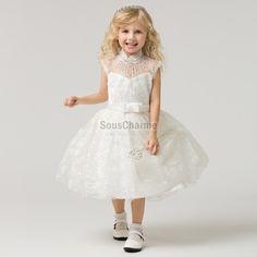 28e5635938fda robe mariage enfant fille princesse pas cher en tulle à broderie avec col  montant transparent à