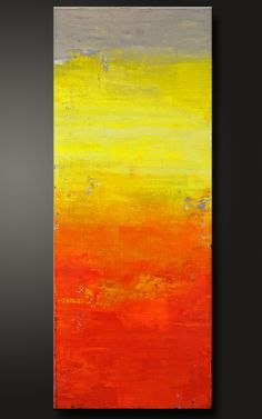 Sunset - 18 x 36 - Abstract Acrylic Painting - Contemporary Wall Art - Gray  Grey Yellow Orange Red