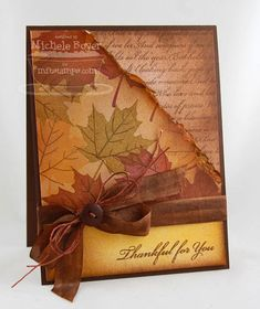 Thankful for You by - Cards and Paper Crafts at Splitcoaststampers Fall Cards, Holiday Cards, Christmas Cards, Halloween Cards, Fall Halloween, Leaf Cards, Scrapbooking, Thanksgiving Cards, Card Sketches