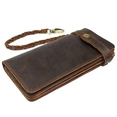 Itslife Mens Brown Bifold Vintage Long Style Hand Made Leather Chain Wallet ** Find out more about the great product at the image link.