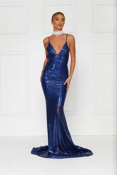 Yassmine Mermaid Gown - Navy Blue