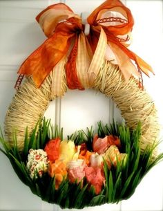 Photo Inspiration: Spring flowers wreath. Original source unknown.