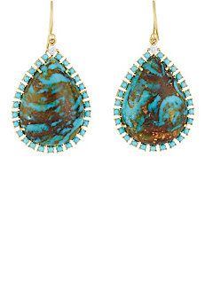 Turquoise Cabochon Drop Earrings