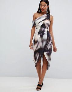 2669f0865076 ASOS DESIGN one shoulder hammered satin dress in abstract print at asos.com