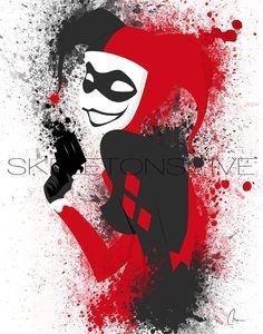 Original Harley Quinn Art Print Hauptdekor von SkeletonsL1ve