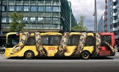 This ambient bus advertisement was made for the Zoo in Copenhagen (Denmark) by advertising agency Young & Rubicam. It looks like a giant constrictor snake is completely squeezing the city bus. Creative Advertising, Bus Advertising, Advertising Design, Advertising Campaign, Ads Creative, Creative Ideas, Funny Commercials, Funny Ads, Funny Humor