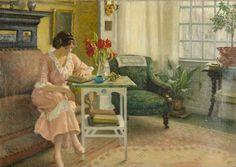 La esposa del artista leyendo en su casa de Sofievej. Paul Gustav Fischer.