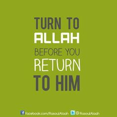Turn to Allah, before you return to Him.  {http://www.PureMatrimony.com/}