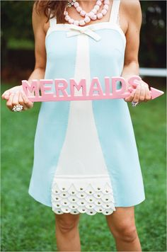 """Love the whole idea of a """"cocktail hour shower"""" announcing """"one less lovely fish in the sea"""" Read more at http://www.weddingchicks.com/2012/08/09/mermaid-bridal-shower-ideas/#U8hStkCgbxMby8GS.99"""