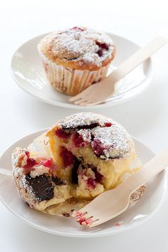 Raspberry and Dark Chocolate Chunk Muffins for V'Day!  I used vanilla yogurt - TO DIE FOR!