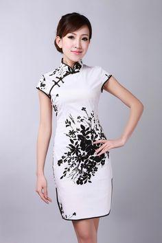 Sexy Fashion White Chinese Women's Cotton Cheong-sam Mini Qipao Dress Flower S M L XL XXL Free Shipping  D0174-A $38.00