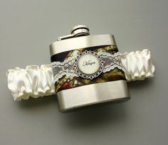 Ivory Camouflage FLASK GARTER -- Personalized Camo & Lace Bridal Wedding Garter on Etsy, $40.00