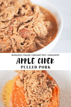 This Apple Cider Pulled Pork recipe is an easy and versatile fall recipe. It's slightly sweet yet sugar free and can be made in both the instant pot and crockpot! #finishedwithsalt #applecider #pulledpork #instantpot #slowcooker #crockpot #paleo #whole30 | finishedwithsalt.com