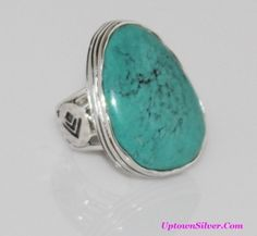 Silpada Artisan Jewelry Size 8 Large Tumbled Turquoise Stone 925 Sterling Silver Statement Tapered Ring