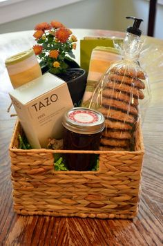 Gift Baskets are always SO fun to receive – but do you struggle with how to pu. - - Gift Baskets are Tea Gifts, Food Gifts, Craft Gifts, Baby Gifts, Baby Presents, Girl Gifts, Themed Gift Baskets, Diy Gift Baskets, Basket Gift