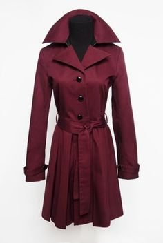 So chic.  Bordeaux Trench Coat with Leather Trim by AMMARA @Taigan Penny