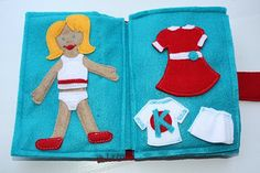 handmade activity book with bunch of velcro.  love this dress up page!  also have coloring and tic tac toe page.