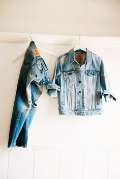 Throw a denim jacket over a classic tee and pair with distressed denim like the Levi's 501 CT jean for simple summer style. #LadiesInLevis