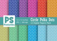 Circle Polka Dots Pattern digital paper commercial by PixelaitStu