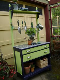 An old dresser repurposed into a charming potting bench for porch or deck...I like this...I found this on   jardendesigns.blogspot.com/2011/05/lovely-gardenpotting-bench.html