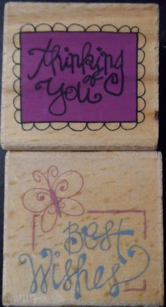 "$10.97/Rubber Stamps Lot 2 USED ""Thinking of You"" & ""Best Wishes""  for Paper Crafting, papercrafts, scrapbooking/scrapbookers, rubberstamping, stamping, arts & crafts   https://www.etsy.com/shop/ShellysSweetFinds"