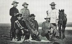 Boer War. Foreign military attaches in the Boer army. Russian military attache Gurko sits on the left.